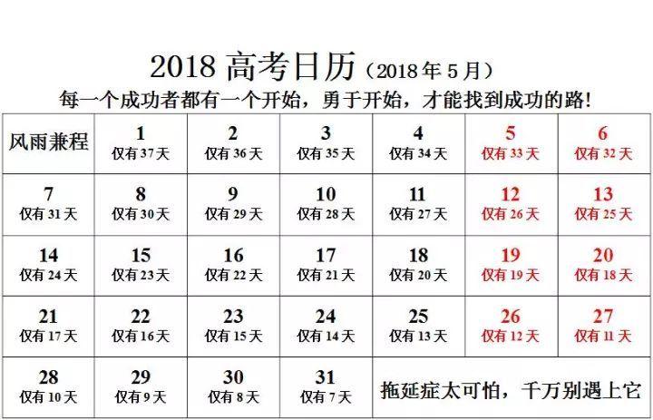 2018年高考倒计时日历 2018年5月