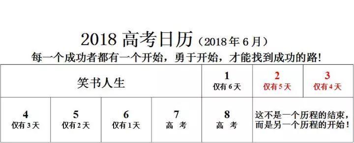 2018年高考倒计时日历 2018年6月
